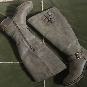 Tall grey riding boots